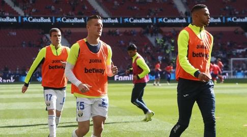 שחקני לגאנס בחימום (La Liga)