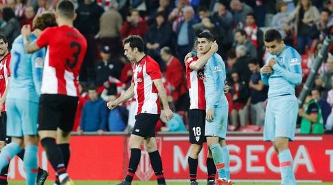 אוסקר דה מרקוס מנחם את אלברו מוראטה בסיום (La Liga)