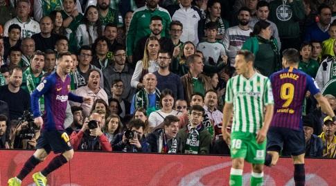 לואיס סוארס חוגג עם ליאו מסי (La Liga)
