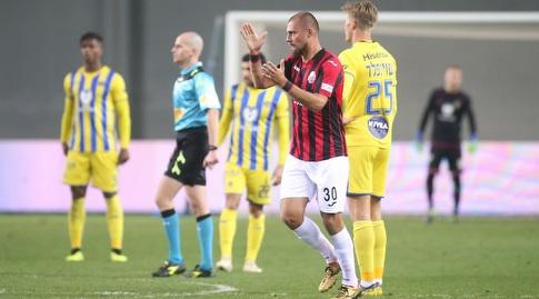 תאמאש הצליח לעצור מעט את הריצה של איביץ' עם 1:1 מאוחר של הצהובים מול הפועל חיפה (רדאד ג'בארה)