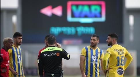 גם במשחק הראשון אי פעם בליגת העל עם ה-VAR הצהובים חגגו וניצחו 0:2 את חדרה (רדאד ג'בארה)