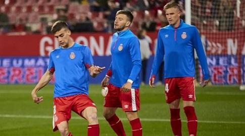 שחקני ג'ירונה בחימום (La Liga)