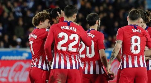 אלברו מוראטה, אנטואן גריזמן ודייגו קוסטה חוגגים (La Liga)