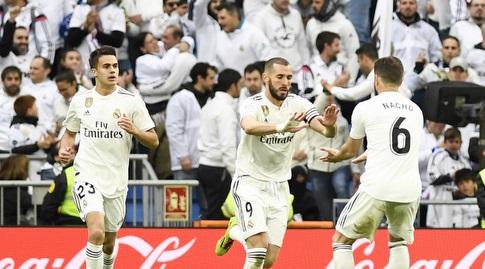 קארים בנזמה חוגג עם סרחיו רגילון ונאצ'ו פרננדס (La Liga)