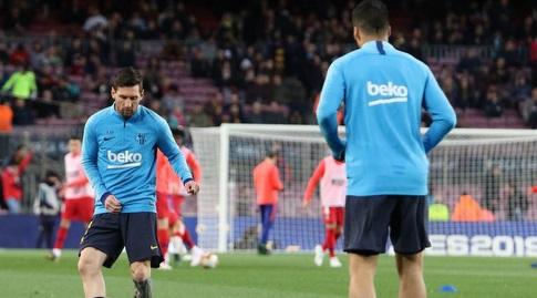 ליאו מסי ולואיס סוארס בחימום (La Liga)