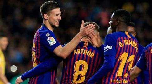 אוסמן דמבלה חוגג עם קלמנט לנגלה (La Liga)