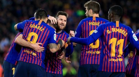 ליאו מסי ולואיס סוארס מברכים את קלמנט לנגלה (La Liga)
