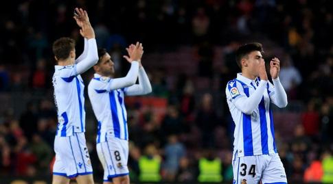 שחקני ריאל סוסיאדד מודים לקהל בסיום (La Liga)