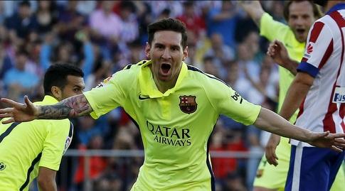 ליאו מסי חוגג את שער האליפות מול אתלטיקו מדריד ב-2015. הנקמה האולטימטיבית (רויטרס)