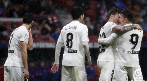 גאמיירו ושחקני ולנסיה חוגגים (La Liga)