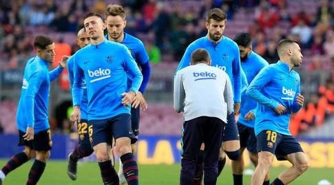 שחקני ברצלונה בחימום (La Liga)