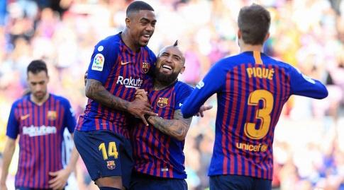 ג'רארד פיקה, ארתורו וידאל ומלקום חוגגים (La Liga)