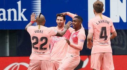 וידאל, ראקיטיץ' ומלקום חוגגים עם מסי (La Liga)