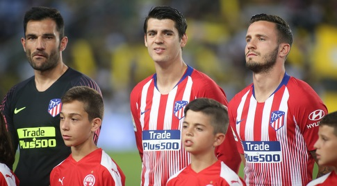 סאול, אלברו מוראטה ואנטוניו אדאן לפני המשחק (רדאד ג'בארה)