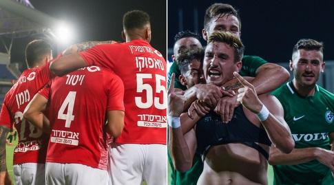 """שחקני מכבי חיפה והפועל ב""""ש חוגגים (רויטרס)"""