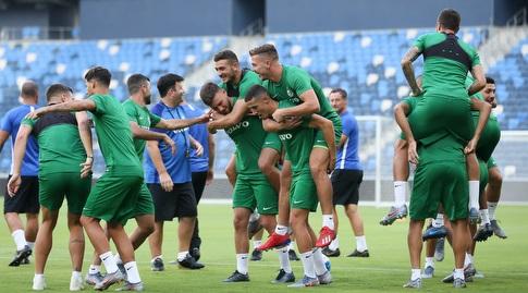 שחקני מכבי חיפה באימון (רדאד ג'בארה)