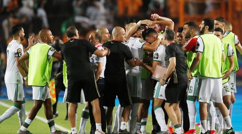 שחקני נבחרת אלג'יריה חוגגים (רויטרס)