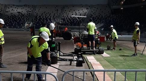 הדשא נפרס באצטדיון בלומפילד (רונן כהן)