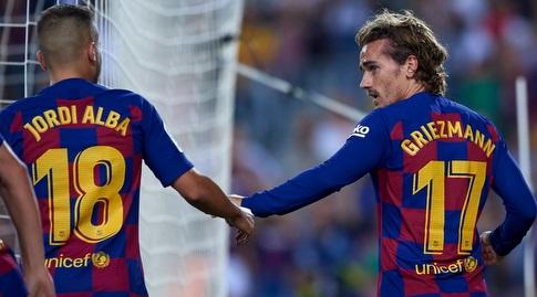 אנטואן גריזמן חוגג עם ג'ורדי אלבה (La Liga)
