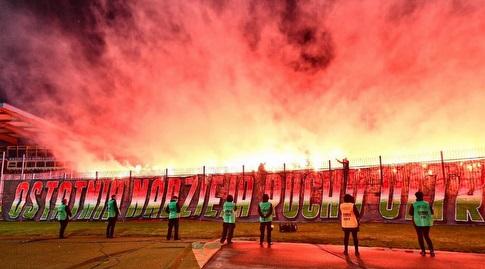 אוהדי לגיה ורשה במשחק חוץ בגביע (האתר הרשמי של לגיה ורשה)