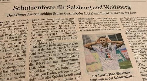שון וייסמן בעיתונות האוסטרית (מערכת ONE)