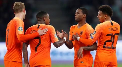 שחקני הולנד. ניצחון מול צפון אירלנד יבטיח להם את הכרטיס ליורו (רויטרס)