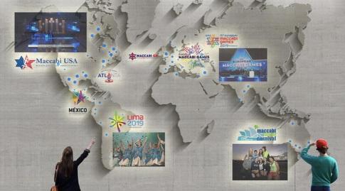 """המועדונים היהודים על מפת העולם בכניסה למוזיאון (יח""""צ)"""