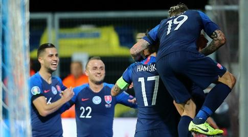 שחקני נבחרת סלובקיה חוגגים (רויטרס)