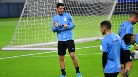 לואיס סוארס באימון אורוגוואי שבאצטדיון נתניה (חגי מיכאלי)