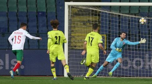ואסיל בוז'יקוב כובש עבור נבחרת בולגריה (רויטרס)