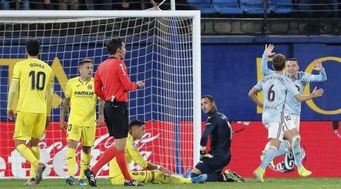 יאגו אספאס חוגג את שער היתרון מול ויאריאל (La Liga)