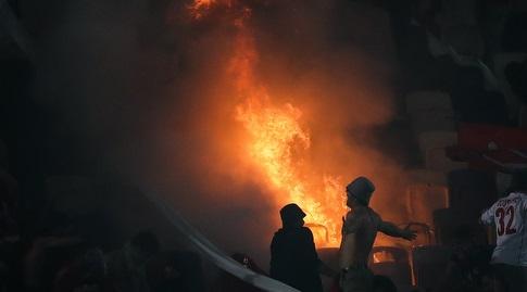 שריפה ביציע אוהדי הפועל תל אביב (רדאד ג'בארה)
