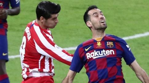 סרחיו בוסקטס במאבק מול אלברו מוראטה (רויטרס)