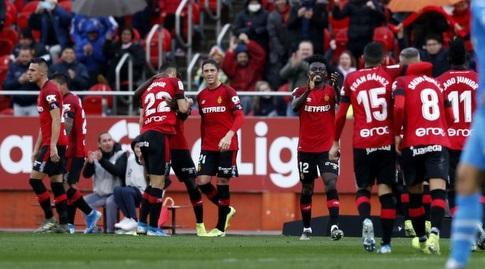 שחקני מיורקה חוגגים (La Liga)