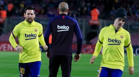 אנטואן גריזמן וליאו מסי בחימום (La Liga)
