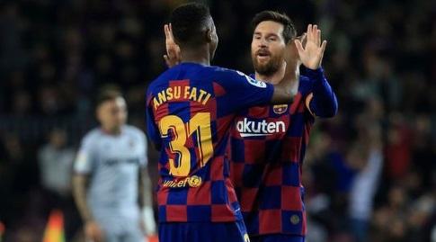 ליאו מסי חוגג עם אנסו פאטי (La Liga)