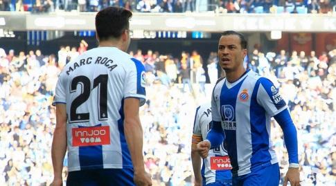 ראול דה תומאס ומארק רוקה חוגגים (La Liga)