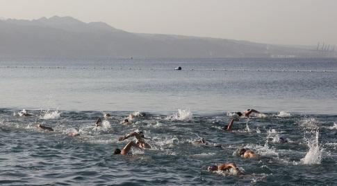 השחיינים באילת לפעמים נאלצים להתאמן בים (יניב גונן)
