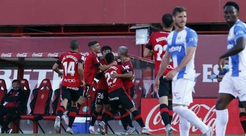 שחקני מיורקה חוגגים עם סלבה סביליה (La Liga)