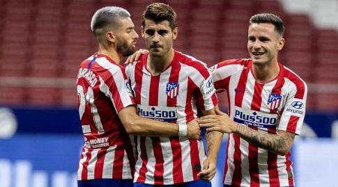 אלברו מוראטה חוגג עם סאול ויאניק קראסקו (La Liga)