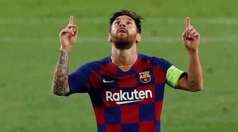 ליאו מסי חוגג את שערו האחרון עד כה בברצלונה. למרבה השמחה, יהיו עוד (רויטרס)