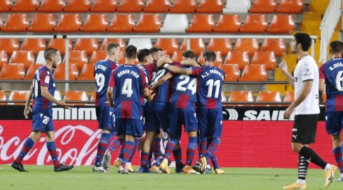 לבאנטה חוגגת את השער שנפסל (La Liga)