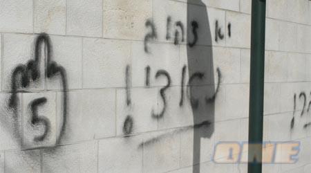 כתובות הנאצה על קירות ביתו של עגיב הבוקר (אלי גבעוני)