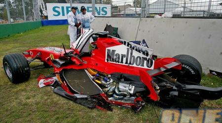 כך נראתה המכונית של מאסה אחרי התאונה שעבר בעונה שעברה (רויטרס)