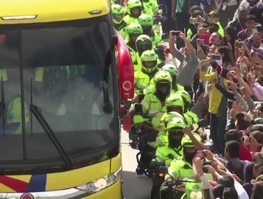 נבחרת קולומביה זוכה לקבלת פנים חמה בארצה