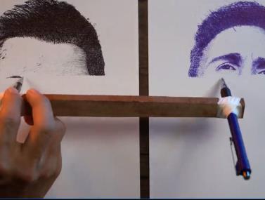 כמו מדפסת: מצייר את רונאלדו ומסי במקביל