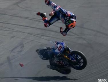 רוכב האופנוע סיים את המירוץ עם זעזוע מוח ושבר בכף היד